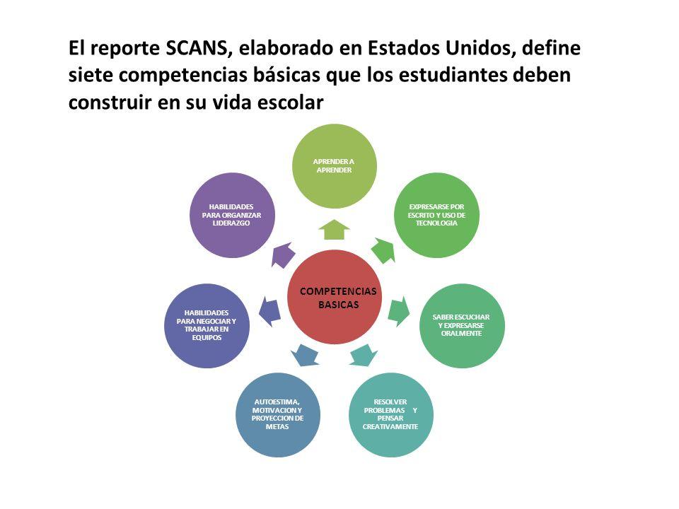 El reporte SCANS, elaborado en Estados Unidos, define siete competencias básicas que los estudiantes deben construir en su vida escolar