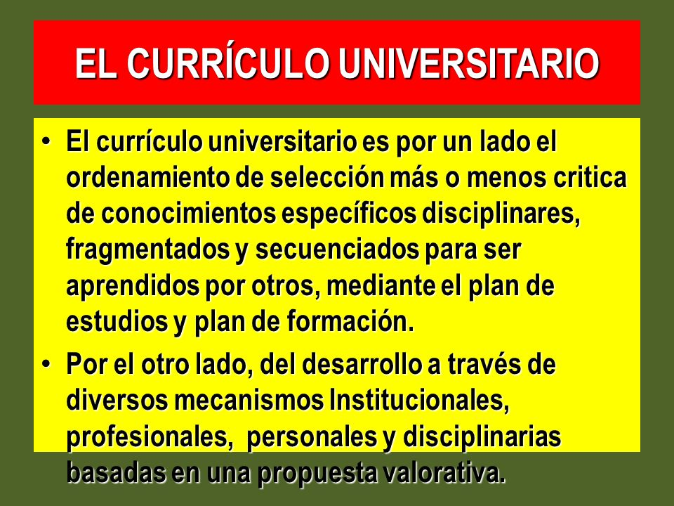 EL CURRÍCULO UNIVERSITARIO