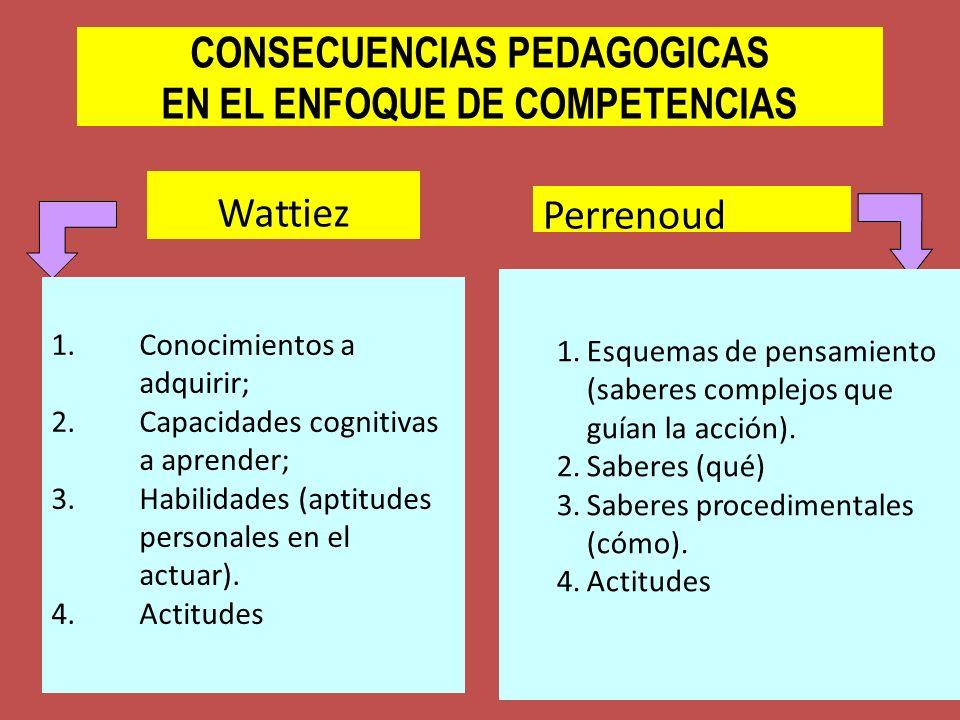 CONSECUENCIAS PEDAGOGICAS EN EL ENFOQUE DE COMPETENCIAS