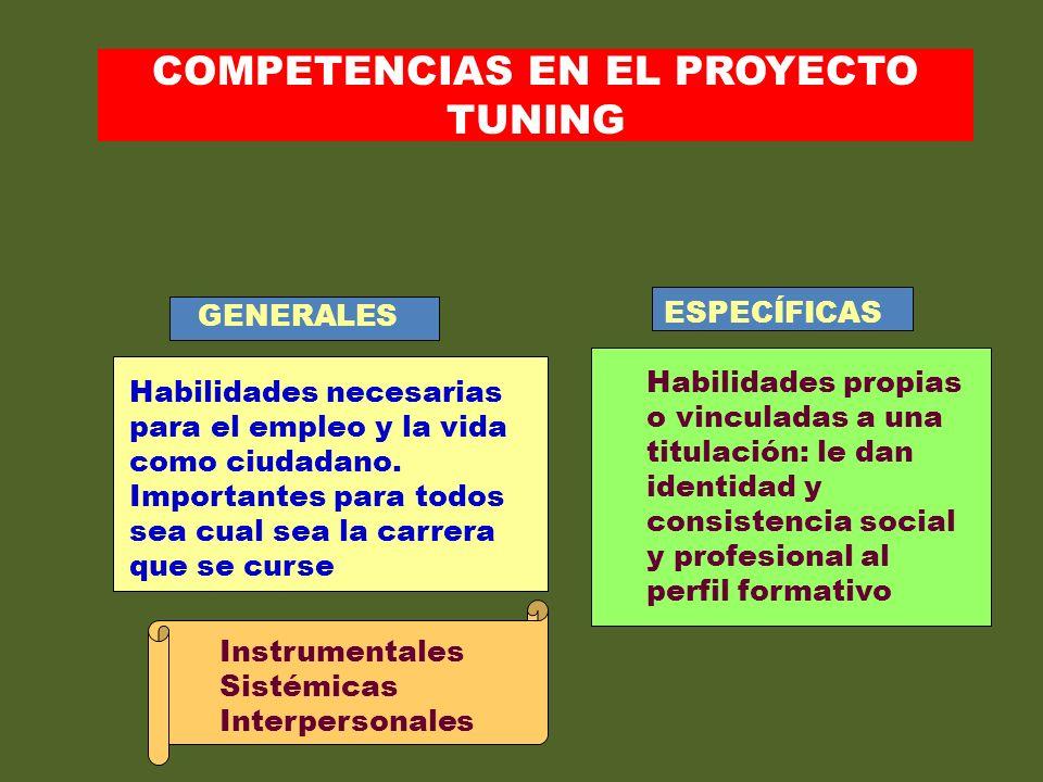 COMPETENCIAS EN EL PROYECTO TUNING