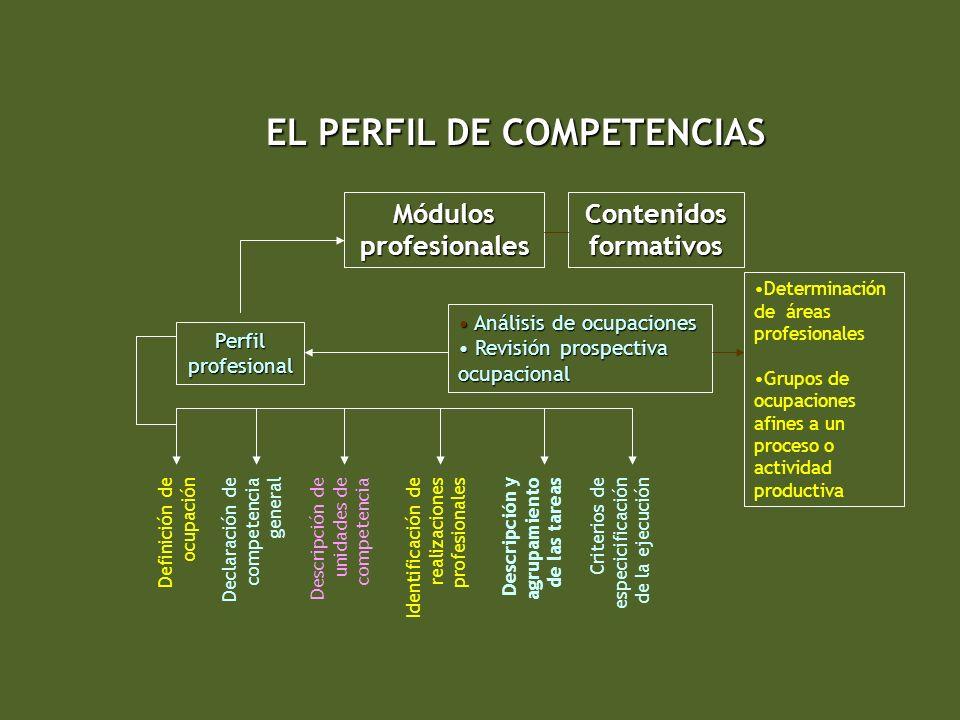 EL PERFIL DE COMPETENCIAS Módulos profesionales Contenidos formativos