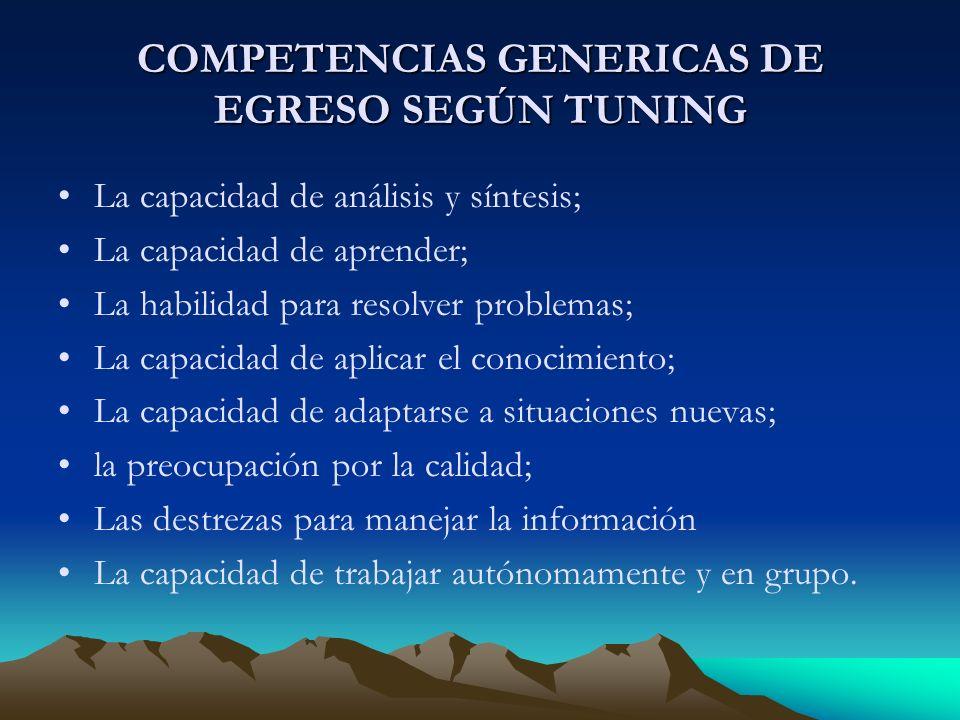 COMPETENCIAS GENERICAS DE EGRESO SEGÚN TUNING