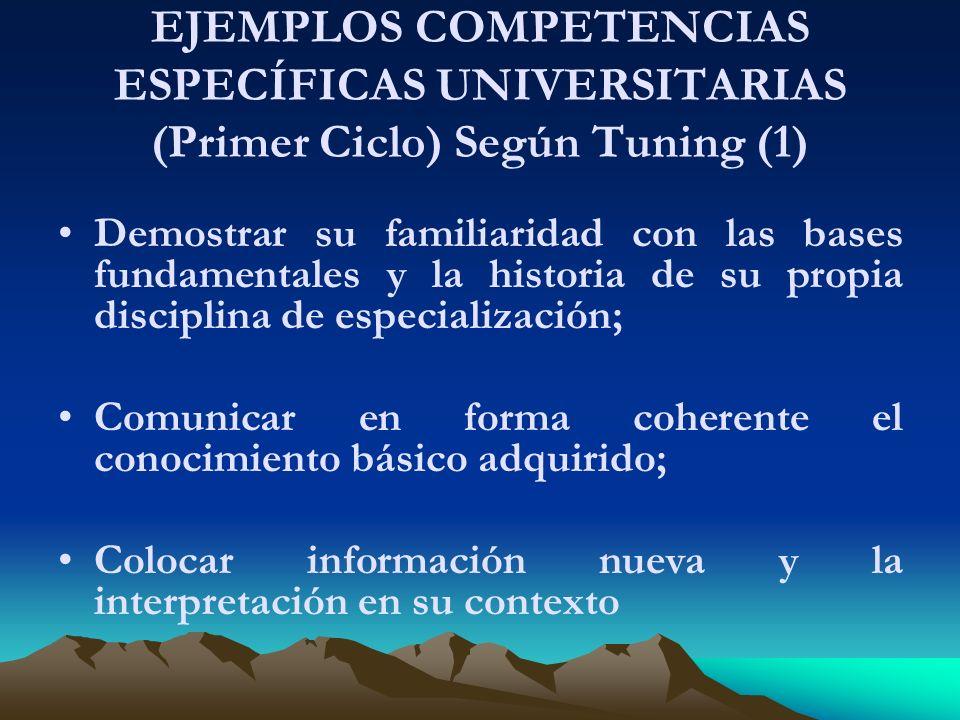 EJEMPLOS COMPETENCIAS ESPECÍFICAS UNIVERSITARIAS (Primer Ciclo) Según Tuning (1)
