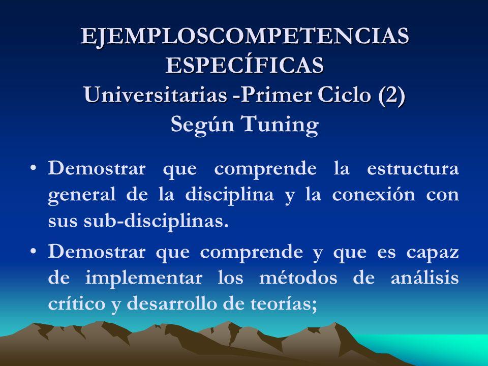EJEMPLOSCOMPETENCIAS ESPECÍFICAS Universitarias -Primer Ciclo (2) Según Tuning