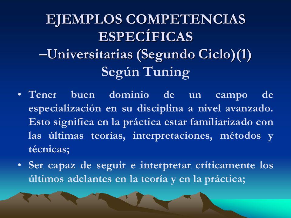 EJEMPLOS COMPETENCIAS ESPECÍFICAS –Universitarias (Segundo Ciclo)(1) Según Tuning