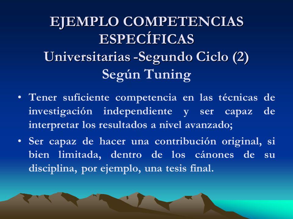 EJEMPLO COMPETENCIAS ESPECÍFICAS Universitarias -Segundo Ciclo (2) Según Tuning