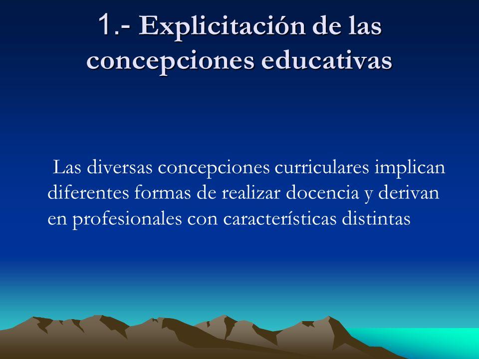 1.- Explicitación de las concepciones educativas