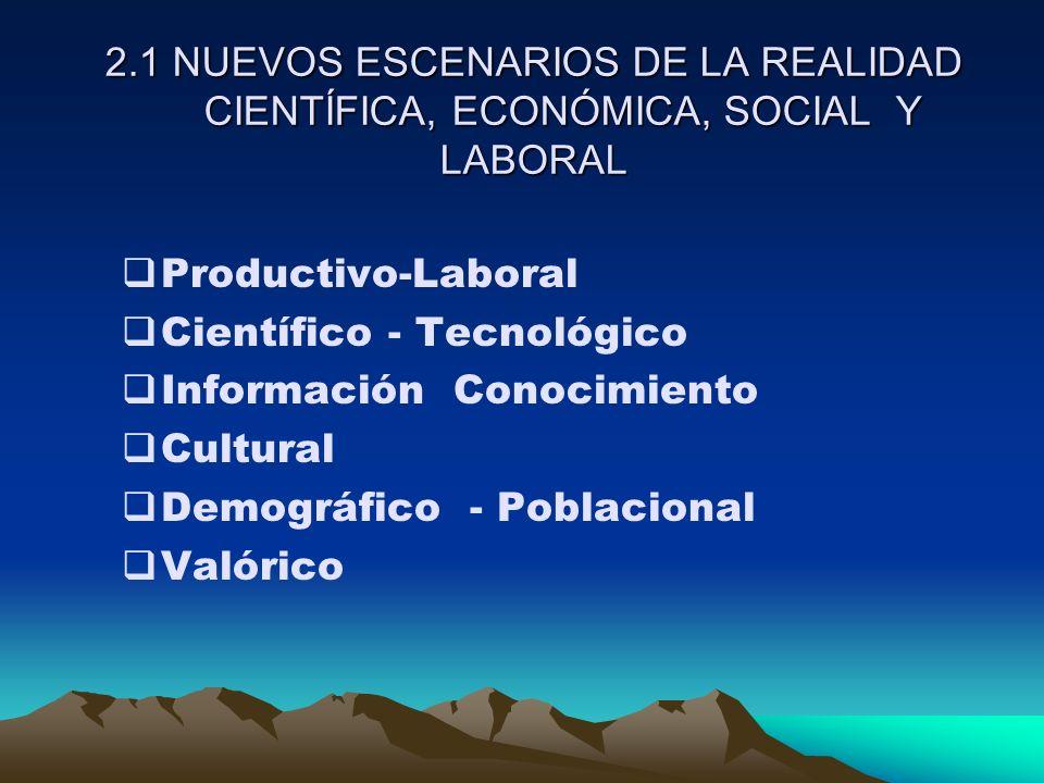 2.1 NUEVOS ESCENARIOS DE LA REALIDAD CIENTÍFICA, ECONÓMICA, SOCIAL Y LABORAL