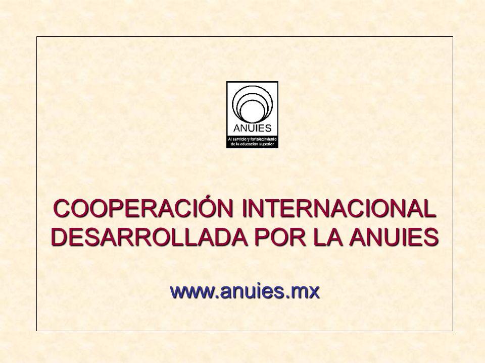 COOPERACIÓN INTERNACIONAL DESARROLLADA POR LA ANUIES www.anuies.mx