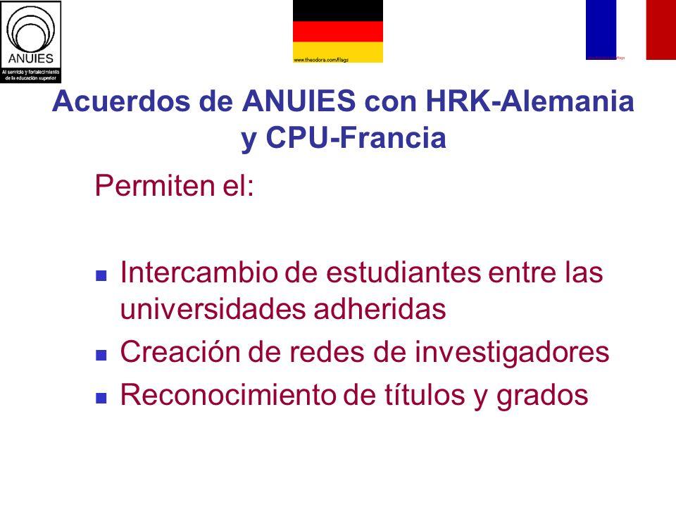 Acuerdos de ANUIES con HRK-Alemania y CPU-Francia