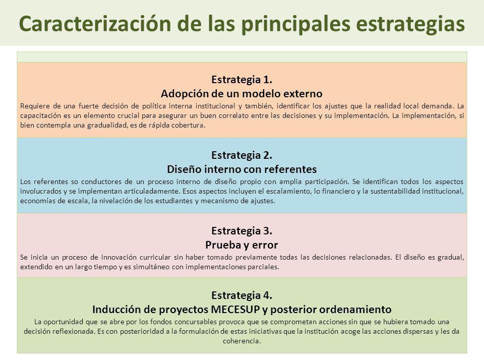 Caracterización de las principales estrategias