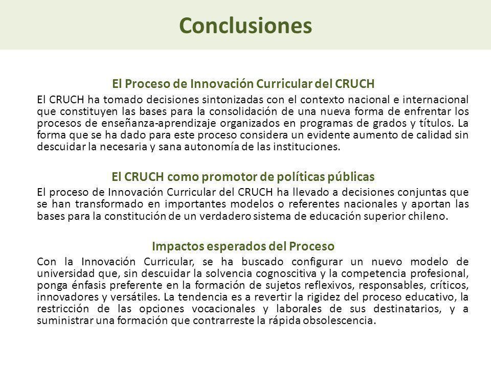 Conclusiones El Proceso de Innovación Curricular del CRUCH