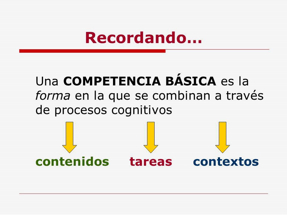 Recordando…Una COMPETENCIA BÁSICA es la forma en la que se combinan a través de procesos cognitivos.