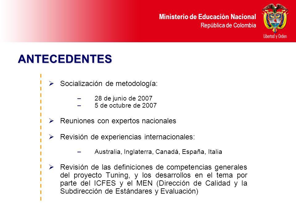 ANTECEDENTES Socialización de metodología: