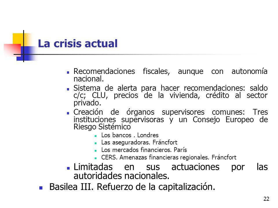 La crisis actual Recomendaciones fiscales, aunque con autonomía nacional.