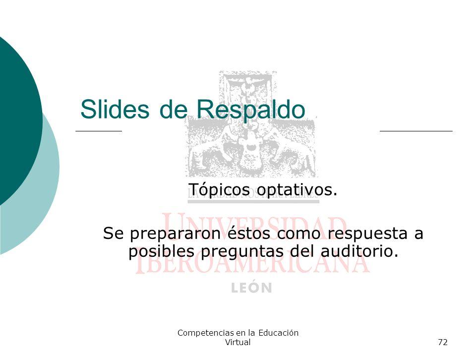 Slides de Respaldo Tópicos optativos.
