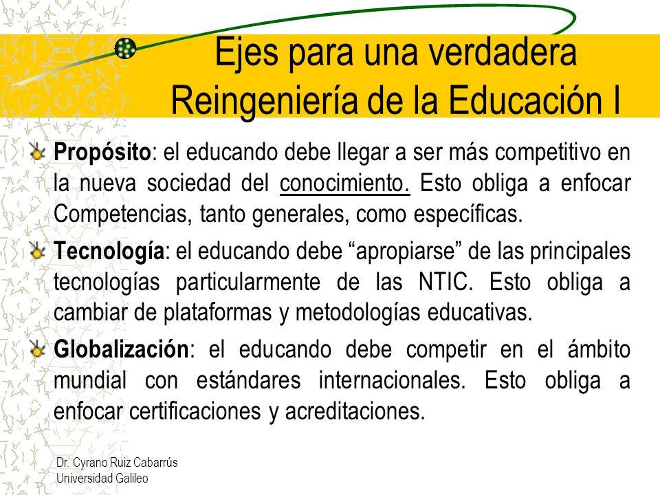 Ejes para una verdadera Reingeniería de la Educación I