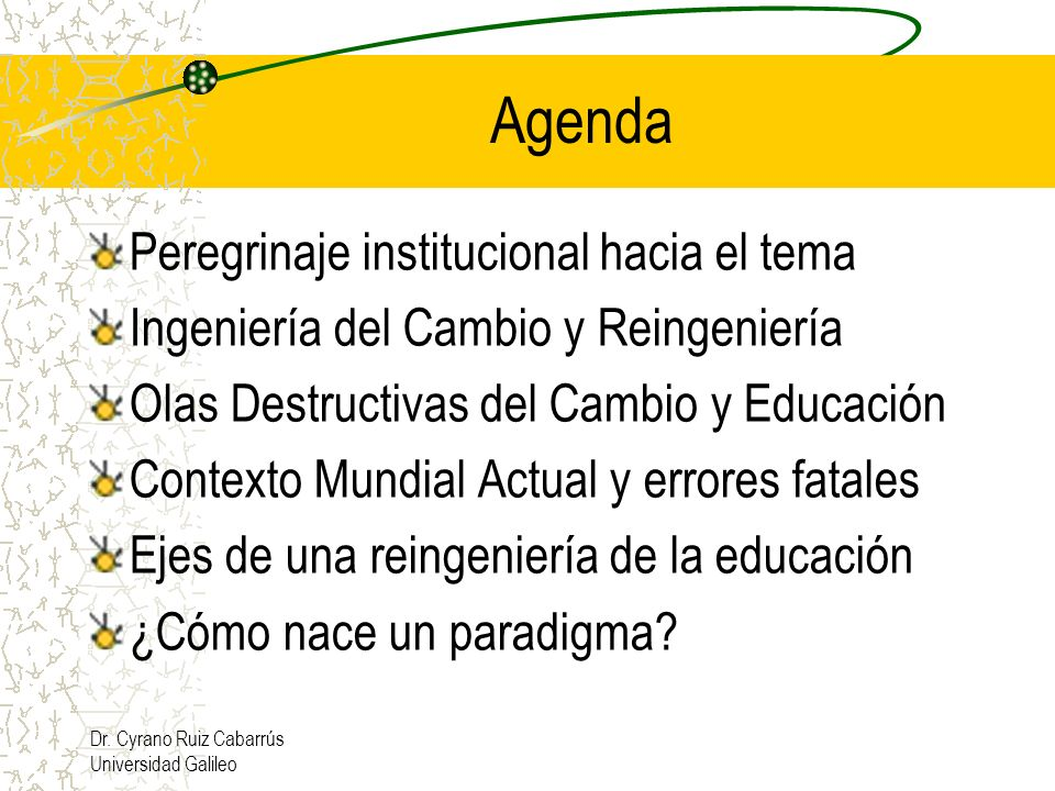 Agenda Peregrinaje institucional hacia el tema