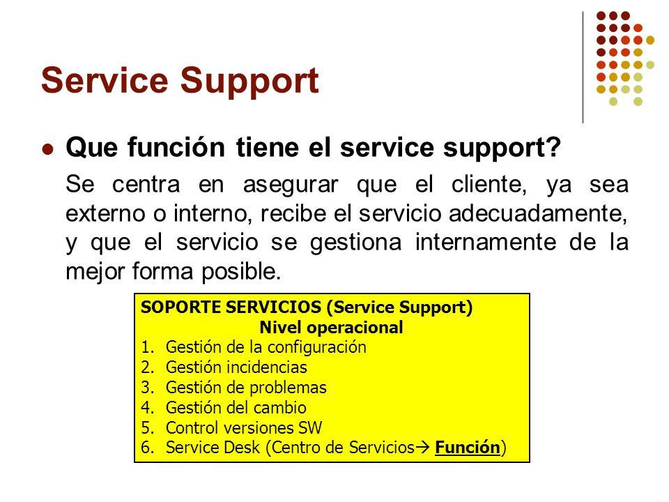 Service Support Que función tiene el service support