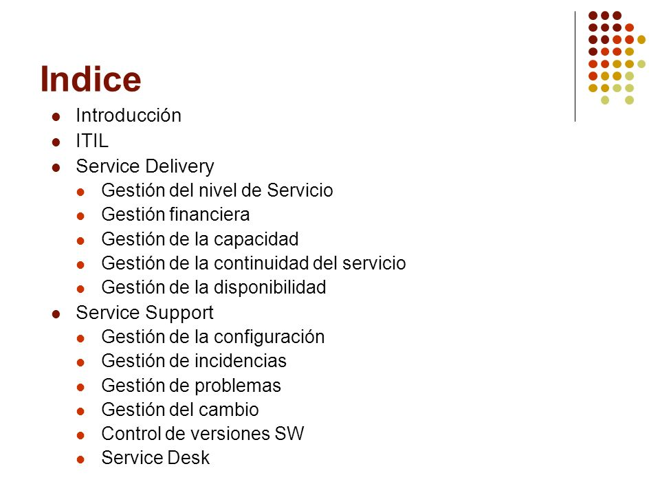 Indice Introducción ITIL Service Delivery Service Support