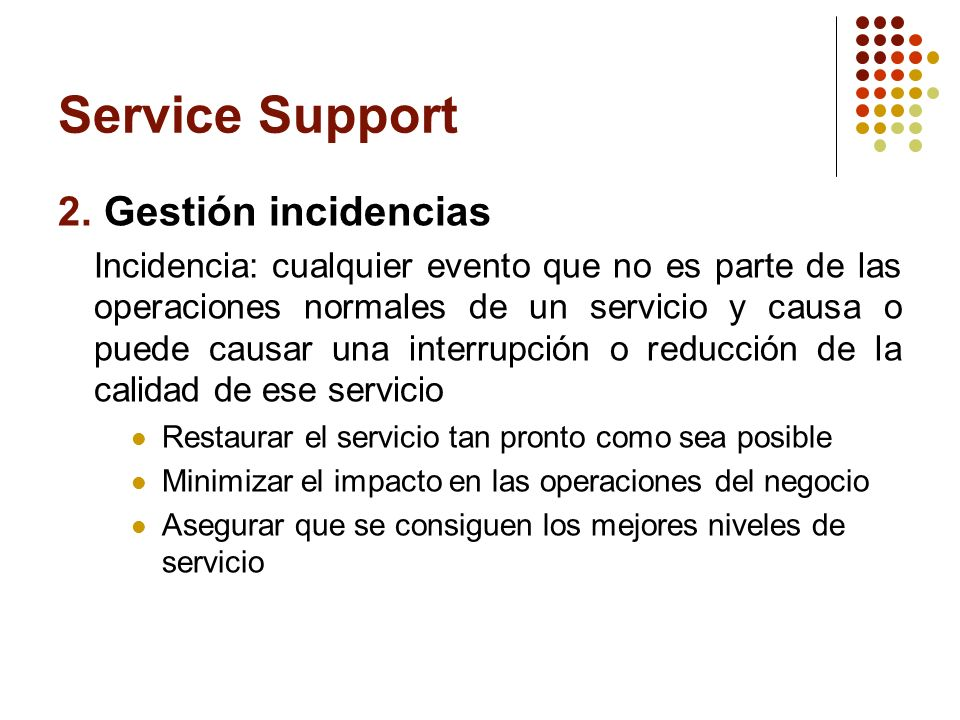 Service Support 2. Gestión incidencias