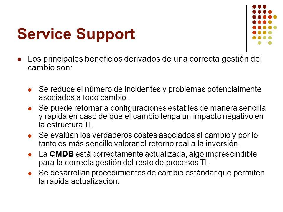 Service Support Los principales beneficios derivados de una correcta gestión del cambio son: