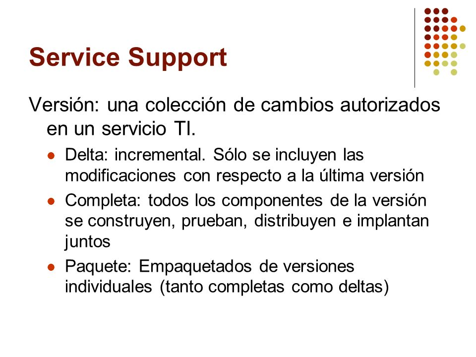 Service Support Versión: una colección de cambios autorizados en un servicio TI.