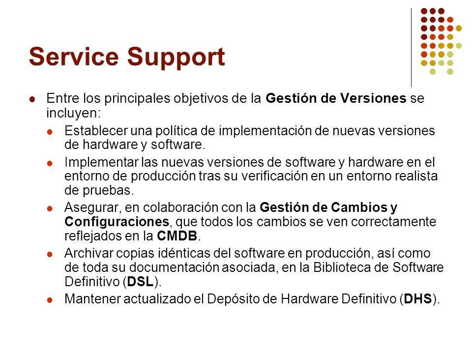 Service Support Entre los principales objetivos de la Gestión de Versiones se incluyen: