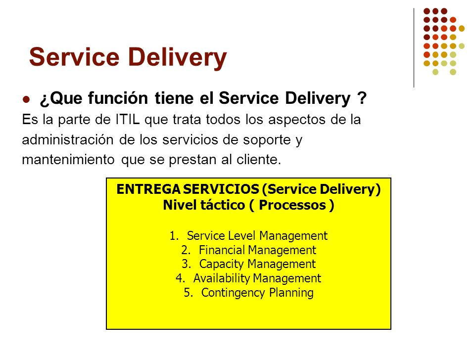 ENTREGA SERVICIOS (Service Delivery) Nivel táctico ( Processos )