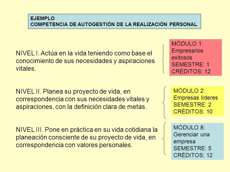 EJEMPLO COMPETENCIA DE AUTOGESTIÓN DE LA REALIZACIÓN PERSONAL. MÓDULO 1: Empresarios exitosos SEMESTRE: 1 CRÉDITOS: 12.