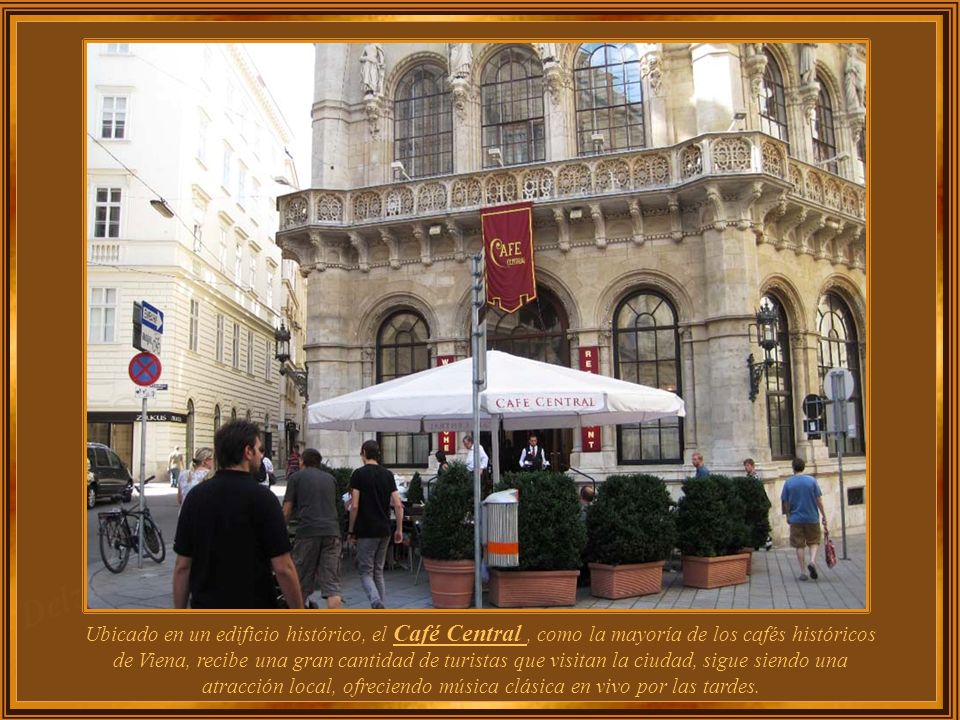 Ubicado en un edificio histórico, el Café Central , como la mayoría de los cafés históricos de Viena, recibe una gran cantidad de turistas que visitan la ciudad, sigue siendo una atracción local, ofreciendo música clásica en vivo por las tardes.