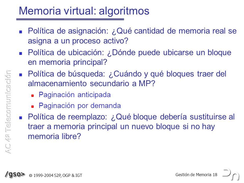 Memoria virtual: algoritmos