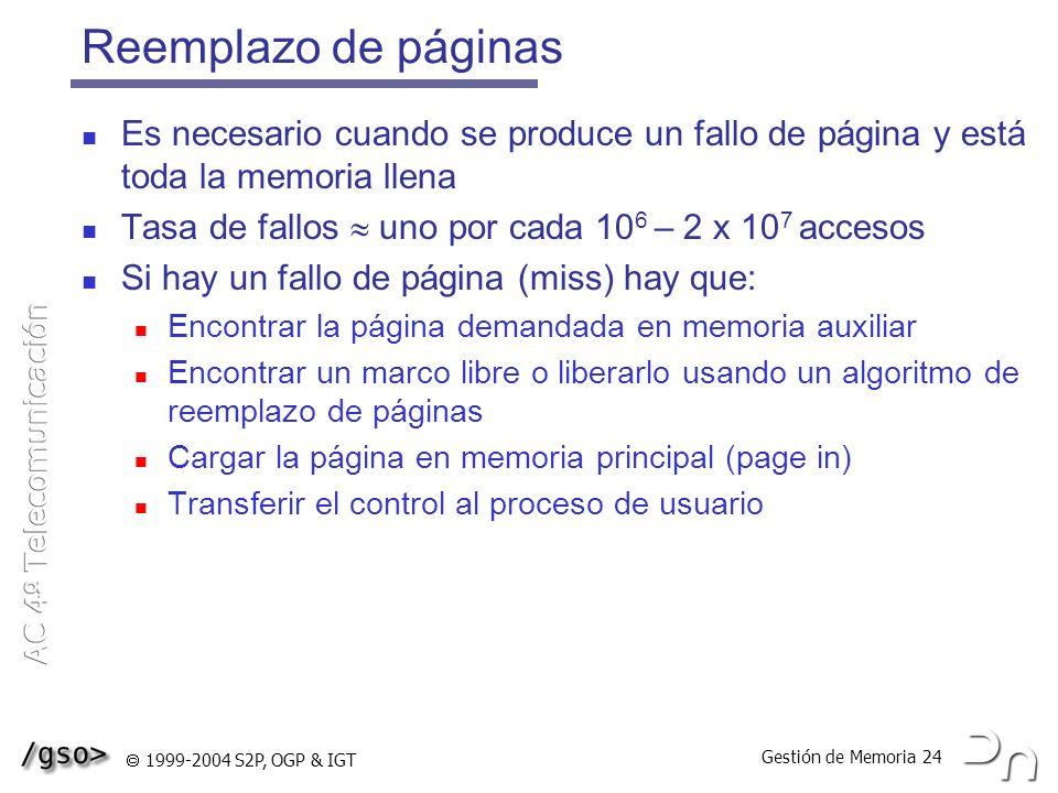 Reemplazo de páginas Es necesario cuando se produce un fallo de página y está toda la memoria llena.