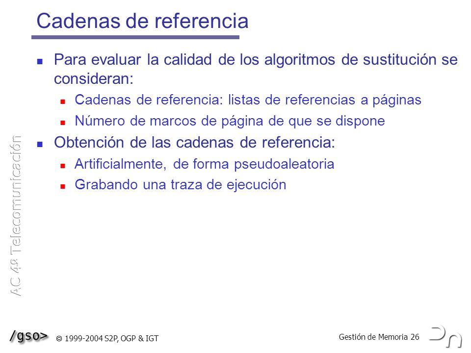Cadenas de referencia Para evaluar la calidad de los algoritmos de sustitución se consideran: Cadenas de referencia: listas de referencias a páginas.