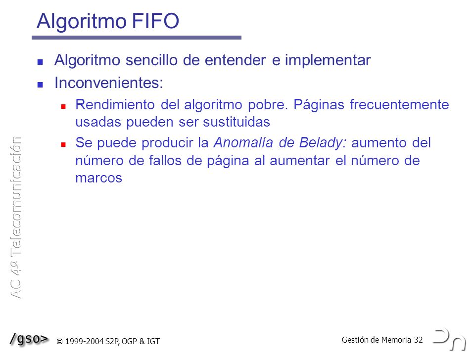 Algoritmo FIFO Algoritmo sencillo de entender e implementar