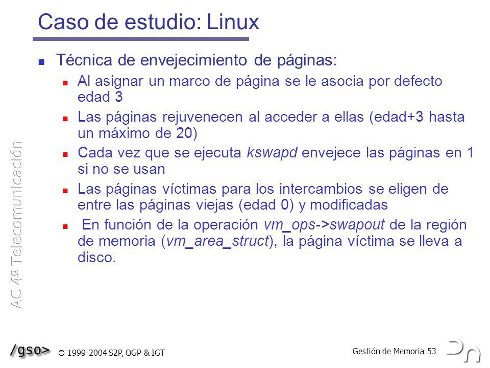 Caso de estudio: Linux Técnica de envejecimiento de páginas: