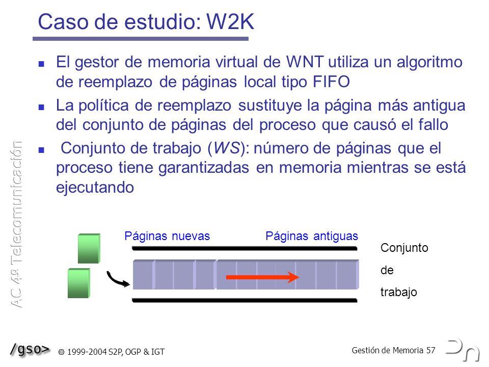 Caso de estudio: W2K El gestor de memoria virtual de WNT utiliza un algoritmo de reemplazo de páginas local tipo FIFO.
