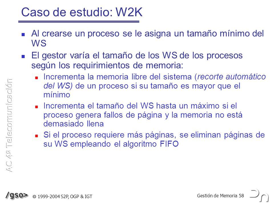 Caso de estudio: W2K Al crearse un proceso se le asigna un tamaño mínimo del WS.