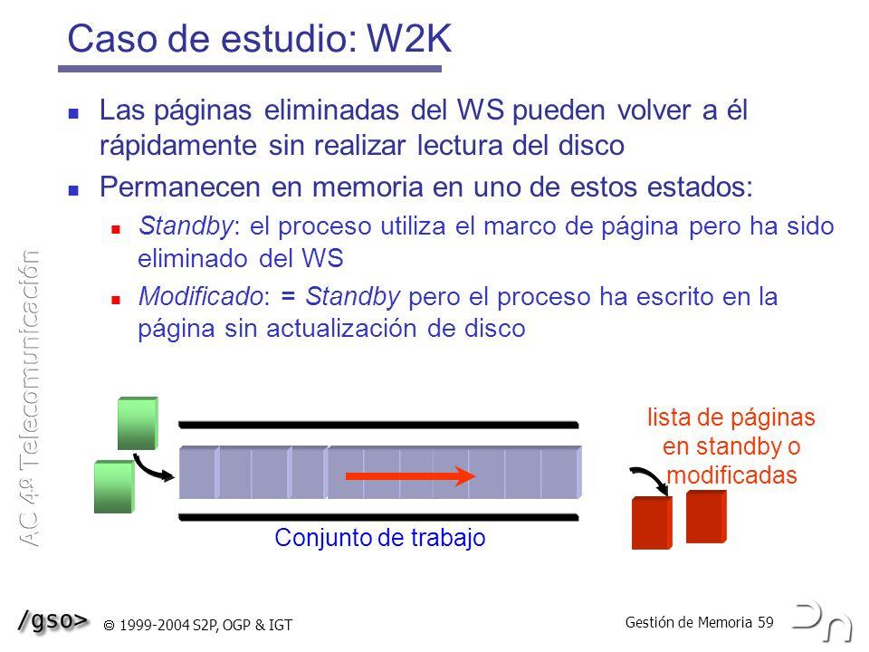 Caso de estudio: W2K Las páginas eliminadas del WS pueden volver a él rápidamente sin realizar lectura del disco.
