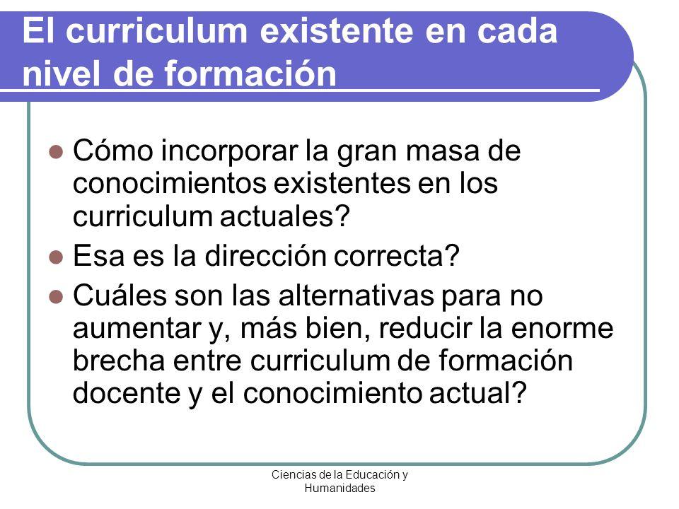 El curriculum existente en cada nivel de formación