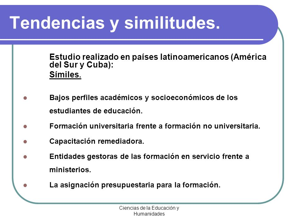 Tendencias y similitudes.