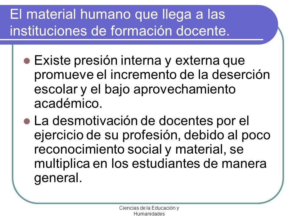 El material humano que llega a las instituciones de formación docente.