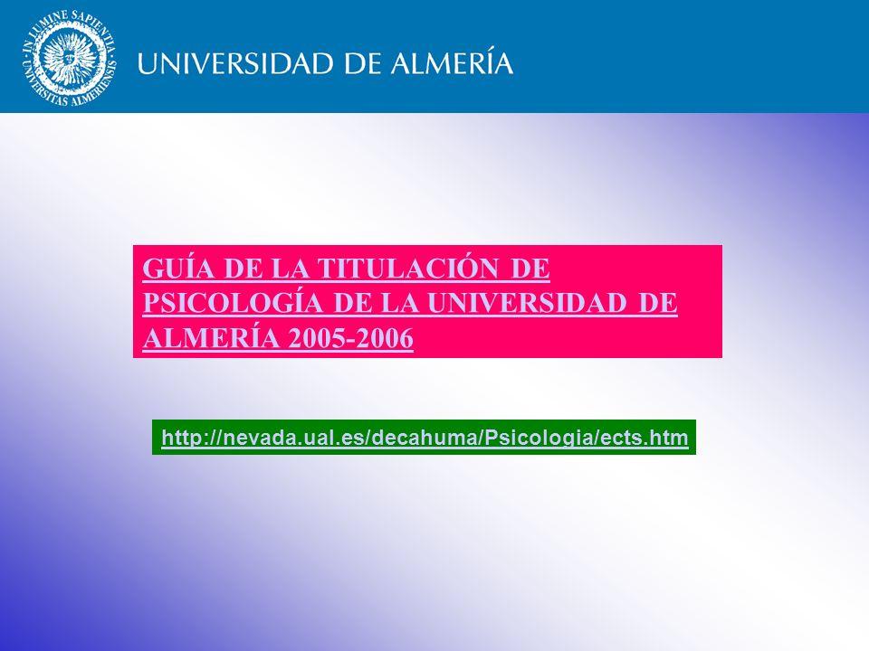 GUÍA DE LA TITULACIÓN DE PSICOLOGÍA DE LA UNIVERSIDAD DE ALMERÍA 2005-2006