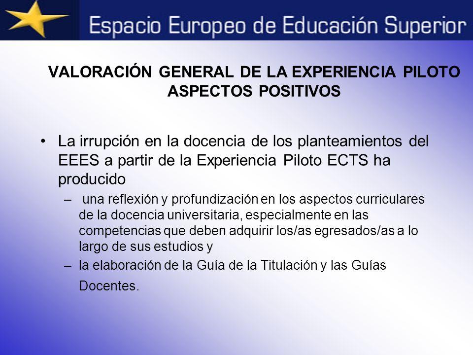 VALORACIÓN GENERAL DE LA EXPERIENCIA PILOTO ASPECTOS POSITIVOS