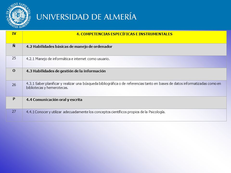 4. COMPETENCIAS ESPECÍFICAS E INSTRUMENTALES