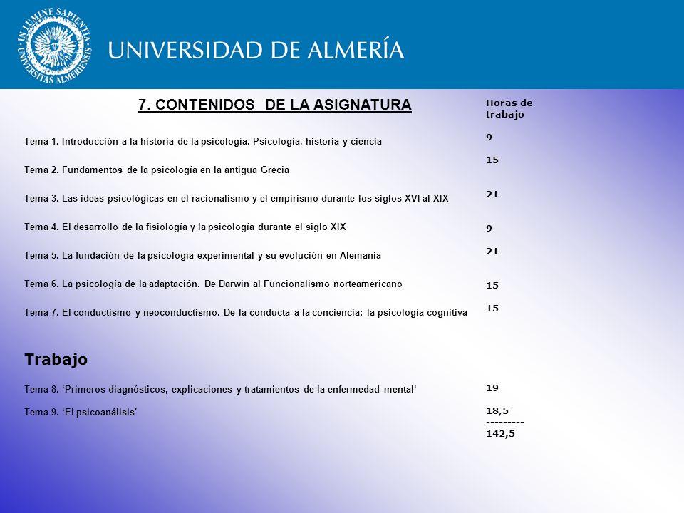 7. CONTENIDOS DE LA ASIGNATURA