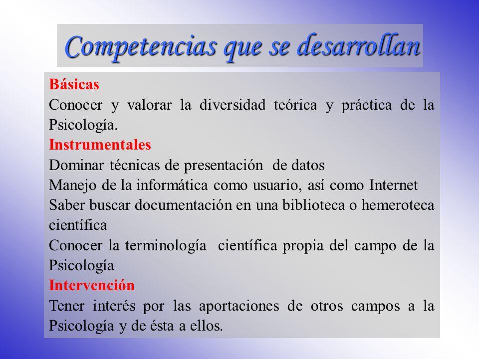 Competencias que se desarrollan