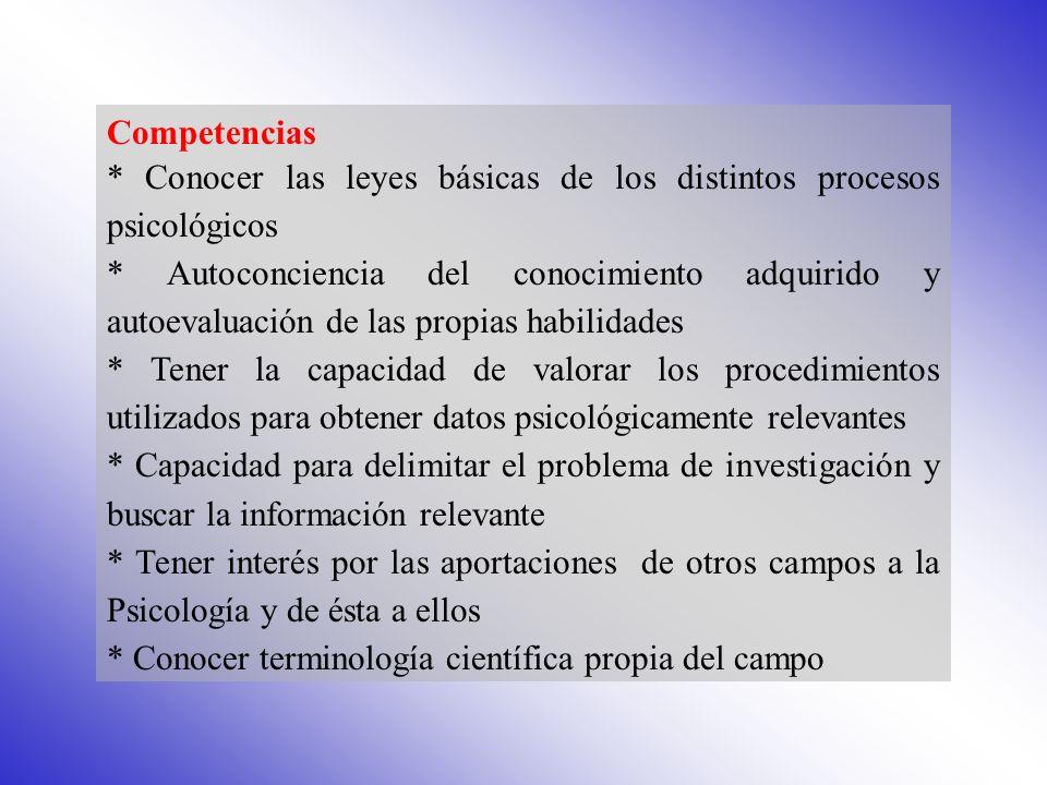 Competencias * Conocer las leyes básicas de los distintos procesos psicológicos.
