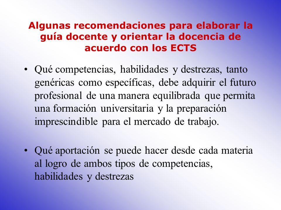 Algunas recomendaciones para elaborar la guía docente y orientar la docencia de acuerdo con los ECTS