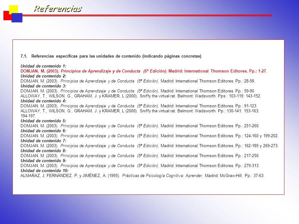 Referencias 7.1. Referencias específicas para las unidades de contenido (indicando páginas concretas)